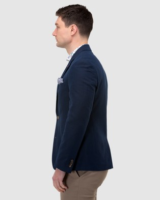 Brooksfield Linen Blend Textured Blazer - Suits & Blazers (Navy)