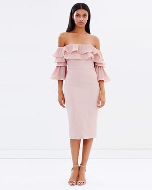 Talulah – Walk On By Off Shoulder Midi Dress – Dresses (Dusty Pink)