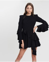 Alex Perry - Hale Satin Crepe Long Sleeve Fitted Ruffle Mini