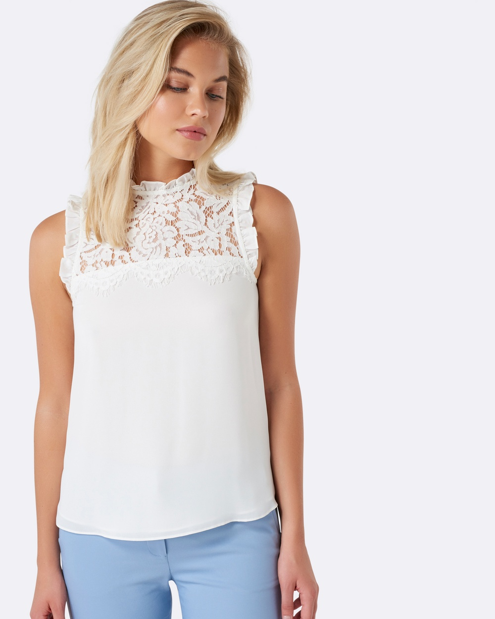Forever New Denise Lace Front Yoke Essential Top Tops Porcelain Denise Lace Front Yoke Essential Top