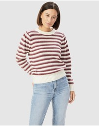 French Connection - Stripe Puff Sleeve Knit