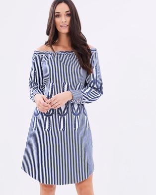 Closet London – Closet Off The Shoulder Cuff Sleeve Dress – Dresses (Navy & White)