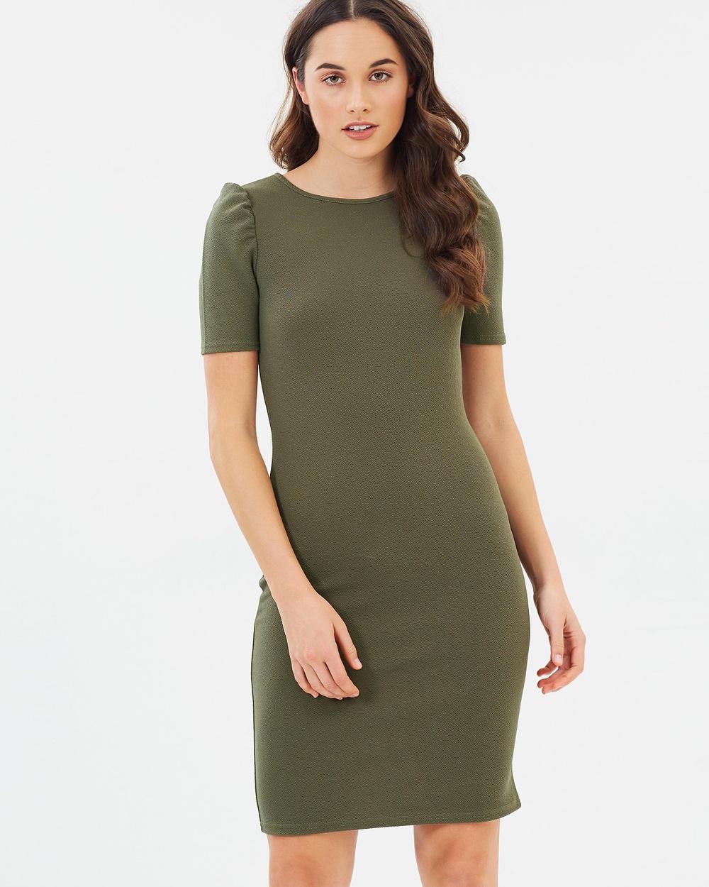 Dorothy Perkins Ruched Dress Dresses Khaki Ruched Dress
