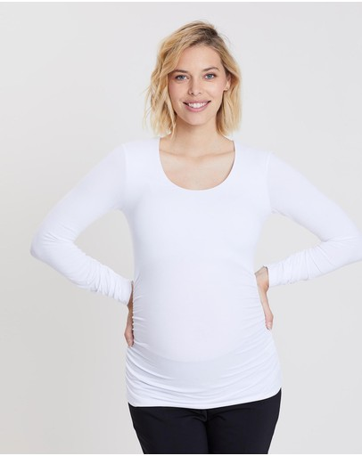 Isabella Oliver The Maternity Scoop Top Pure White