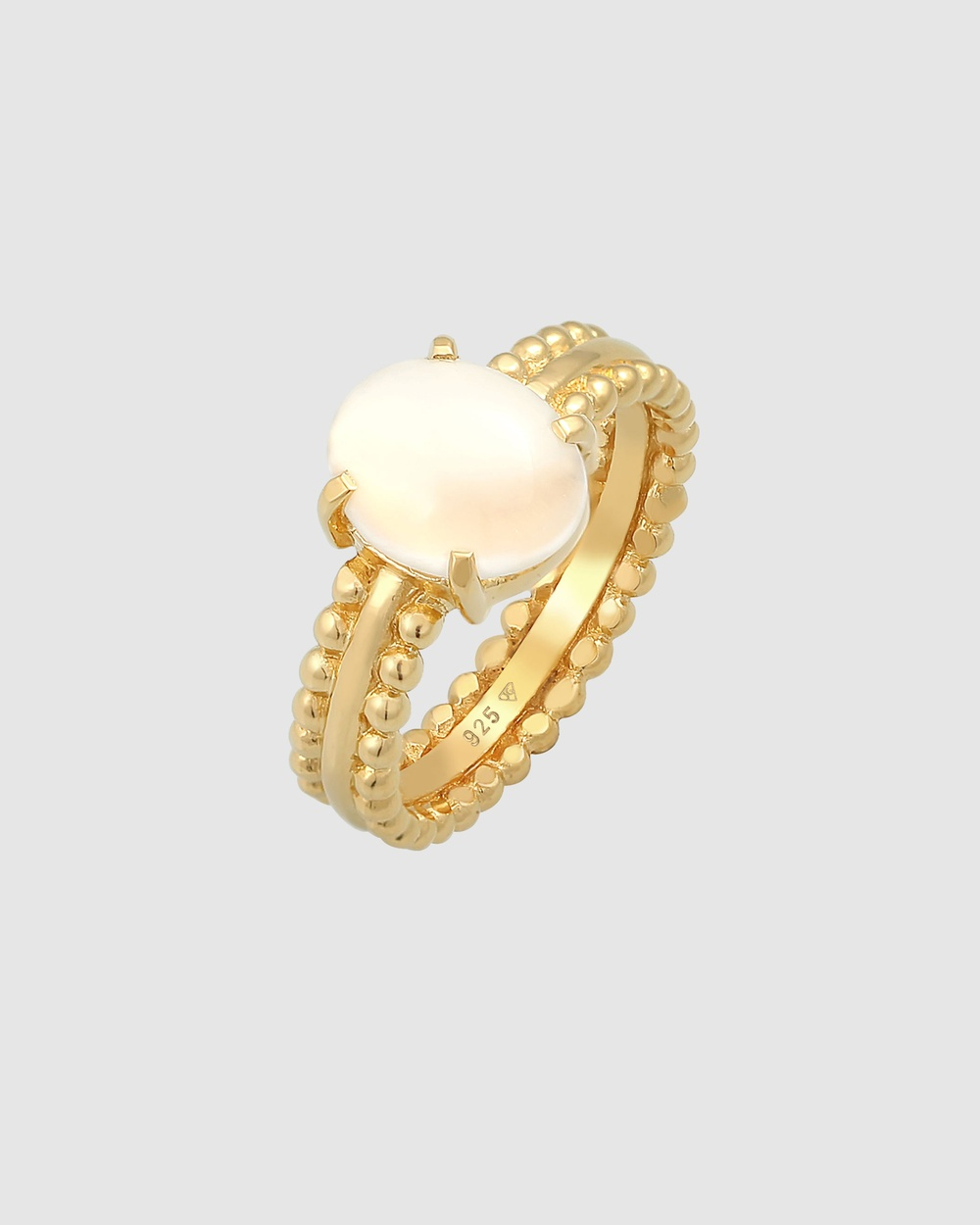 Elli Jewelry Ring Moonstone Gemstone Oval in 925 Sterling Silver Gold Plated Jewellery Gold