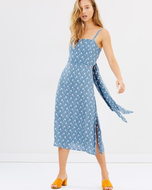 Faithfull – Katergo Midi Dress – Printed Dresses Marcie Floral Print Light Blue
