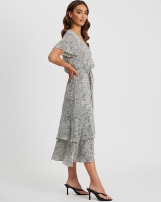 Tussah - Tina Midi Dress - Printed Dresses (White Speckle Spot) Tina Midi Dress