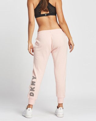 DKNY Track Logo Cropped Joggers - Sweatpants (Rosewater)