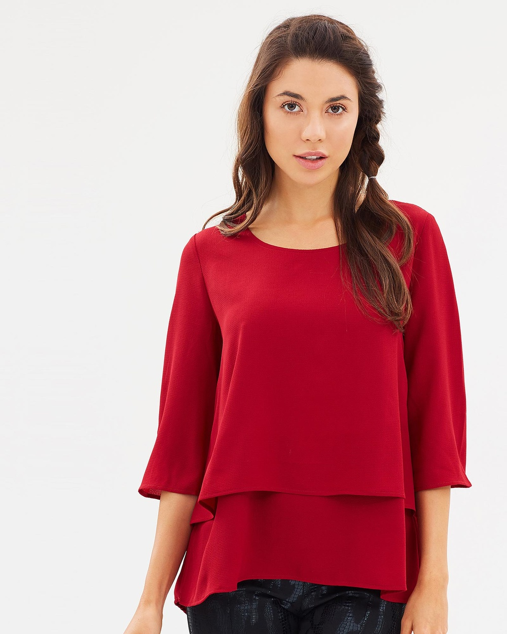 Faye Black Label Look of love Layered Tunic Tops Scarlet Look of love Layered Tunic