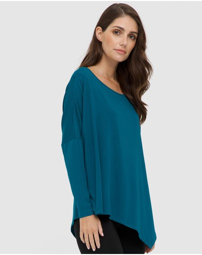Bamboo Body Relax Boatneck Top Dark Teal