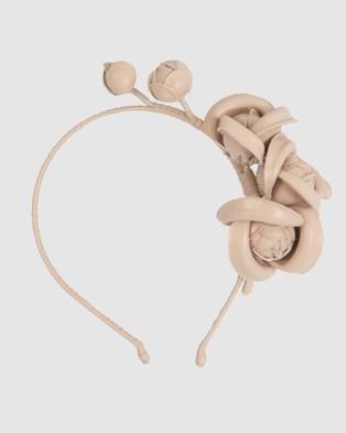 Max Alexander Nude Leather Flowers Headband - Fascinators (nude)