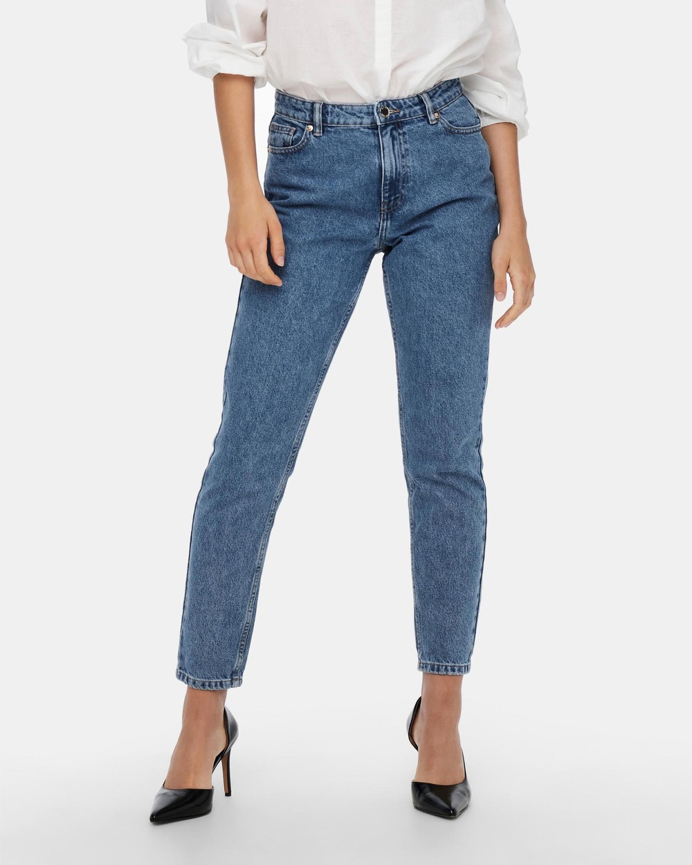 ONLY Jagger High Mom Ankle Jeans High-Waisted Medium Blue Denim Australia