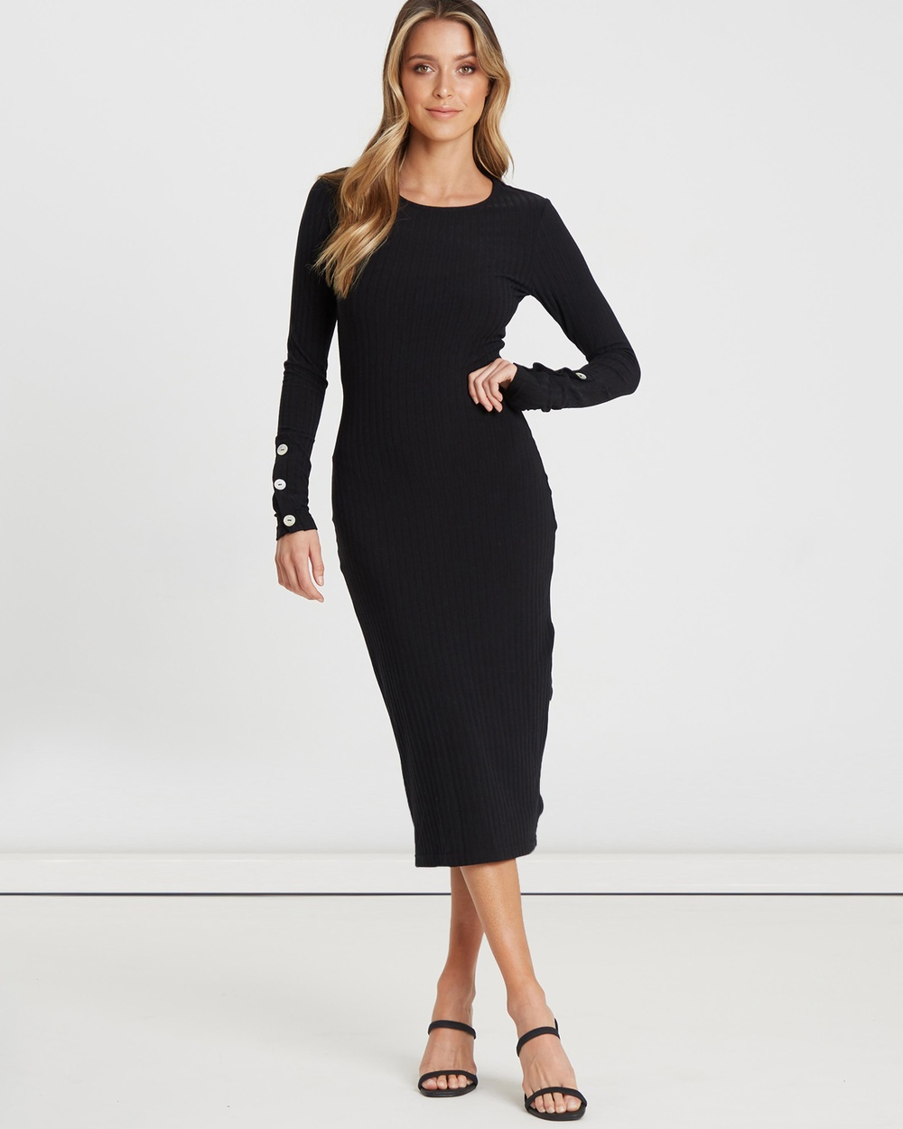 Calli Piper Knit Rib Dress Bodycon Dresses Black Piper Knit Rib Dress