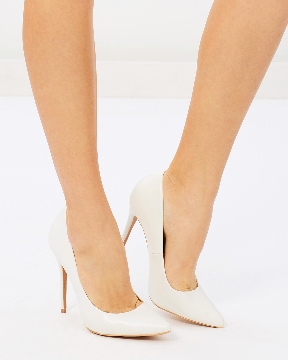 Missguided PU Courts All Pumps White PU Courts