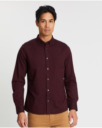 Burton Menswear - Long Sleeve Oxford Dot Print Shirt