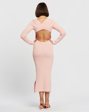 BY JOHNNY. Tina Twist Scoop Back Evening Knit Dress - Bodycon Dresses (Soft Pink)