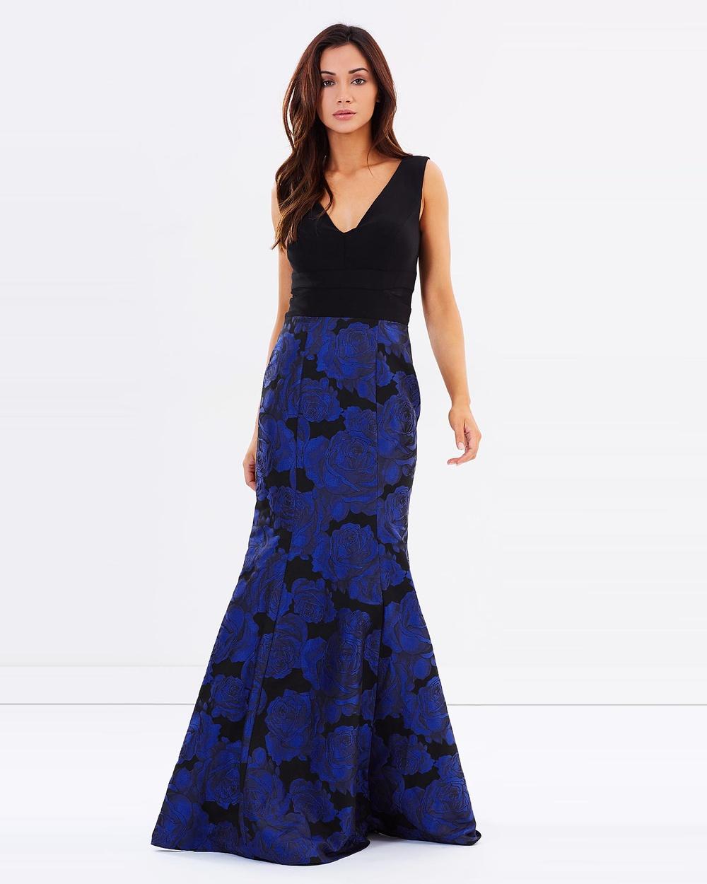 Montique Verushka Jacquard Gown Bridesmaid Dresses Cobalt Verushka Jacquard Gown