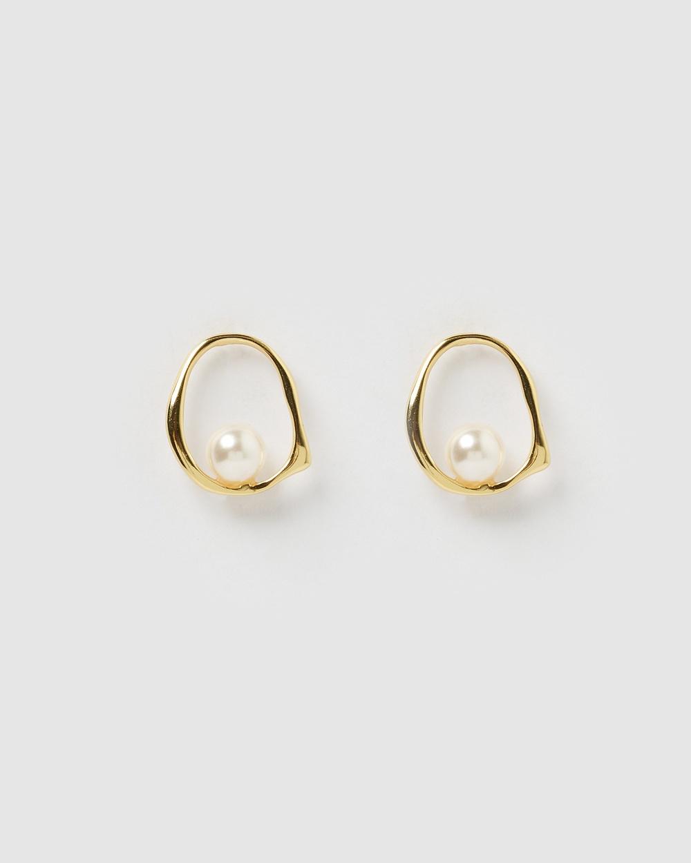 Izoa Jade Freshwater Pearl Earrings Jewellery Gold Pearl