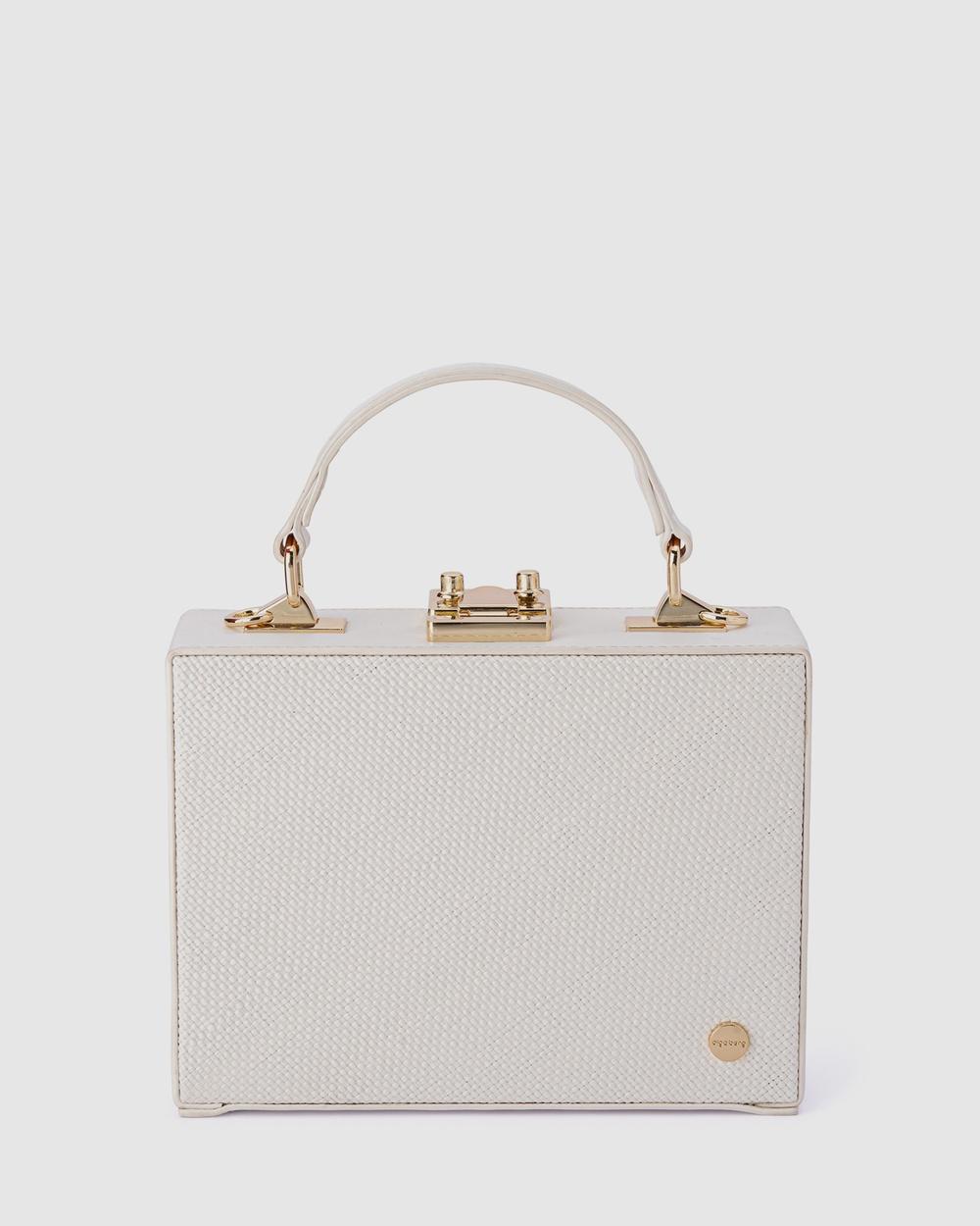Olga Berg Georgia Straw Weave Top Handle Handbags White Handbags Australia