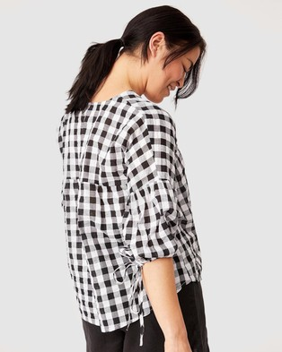 Ceres Life Gingham Smock Top - Tops (Black & White)