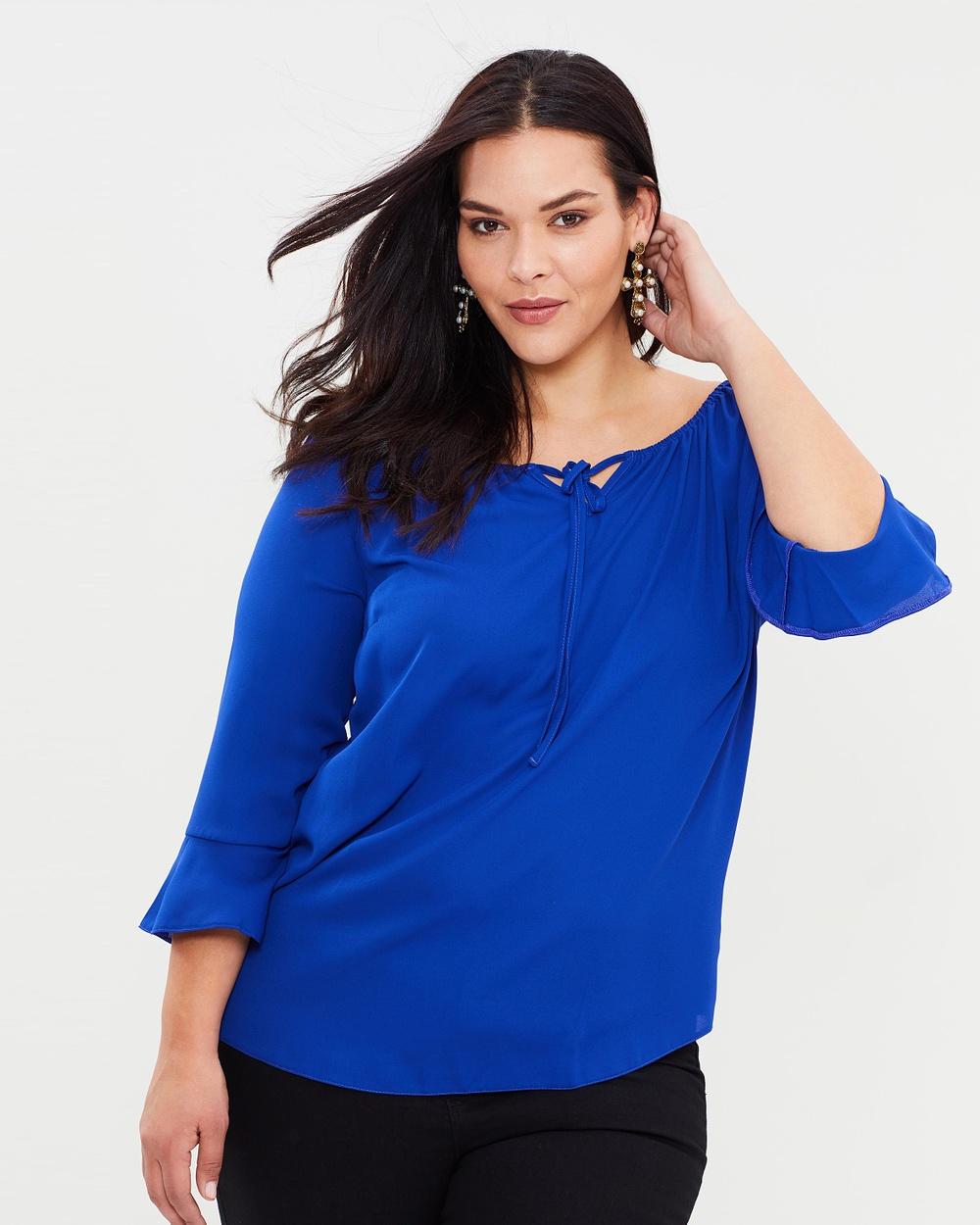 DP Curve Gypsy Shoulder Blouse Tops Blue Gypsy Shoulder Blouse