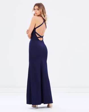 Bariano – Datura Fitted Fishtail Gown – Bridesmaid Dresses (Midnight Blue)