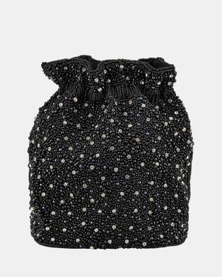 From St Xavier - Mini Pearl Drawstring Bag - Bags (Black & Silver) Mini Pearl Drawstring Bag