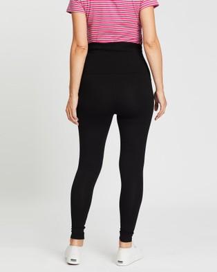 Angel Maternity Basic 7 8 Length Leggings   2 Pack - Pants (Black)