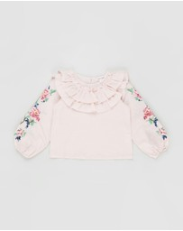 Petite Amalie - Embroidered Sleeve Linen Blouse - Kids-Teens