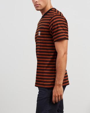 Carhartt SS Parker Pocket T Shirt - T-Shirts & Singlets (Parker Stripe, Black & Brandy)