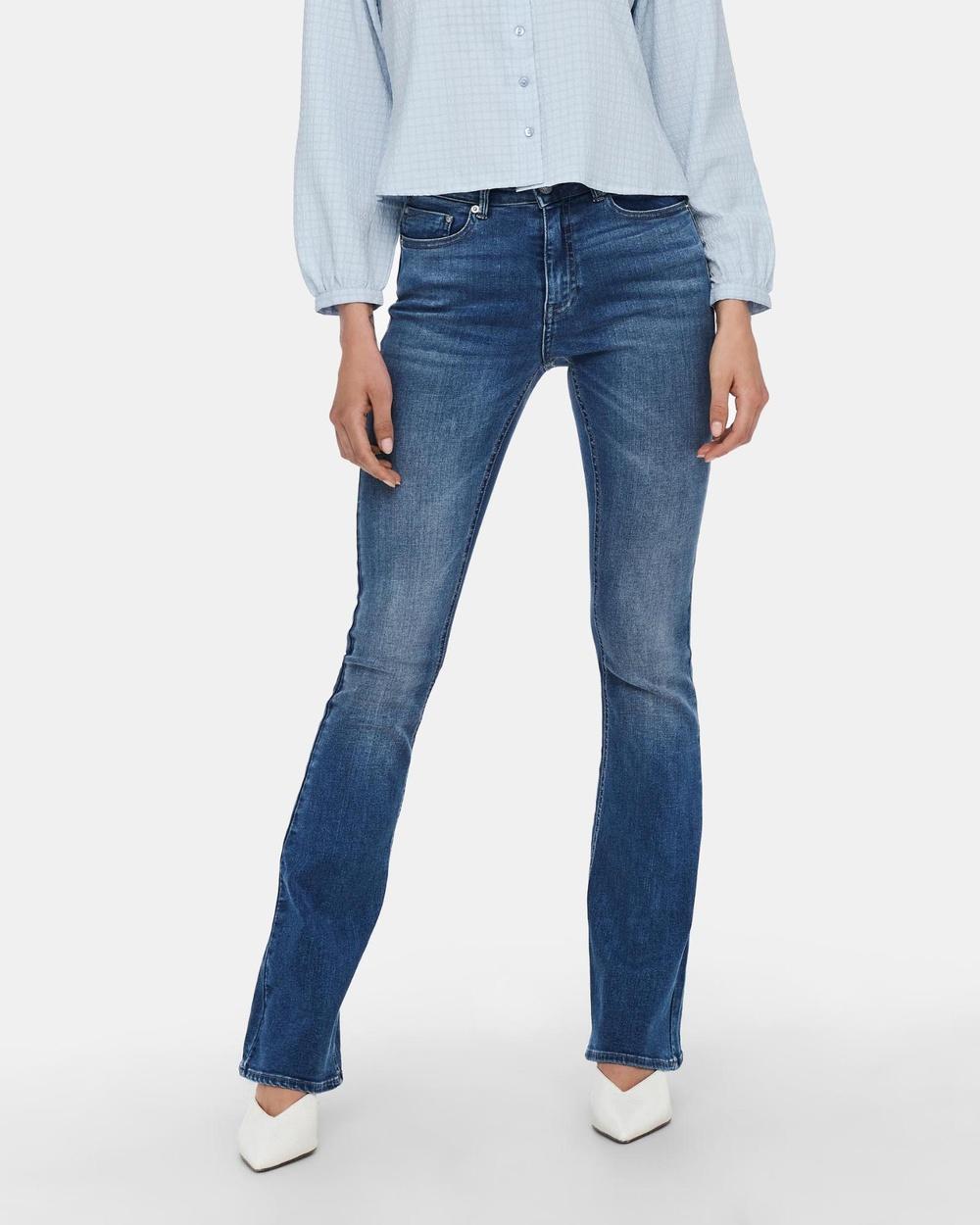 ONLY Paola Life High Waisted Flared Jeans High-Waisted Medium Blue Denim Australia