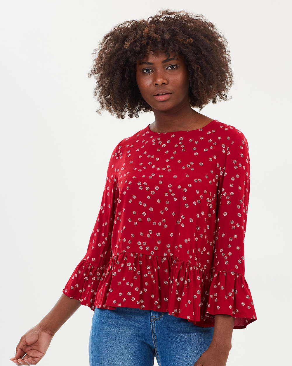 Atmos & Here ICONIC EXCLUSIVE Layla Frilled Hem Top Tops Red Scatter Print ICONIC EXCLUSIVE Layla Frilled Hem Top