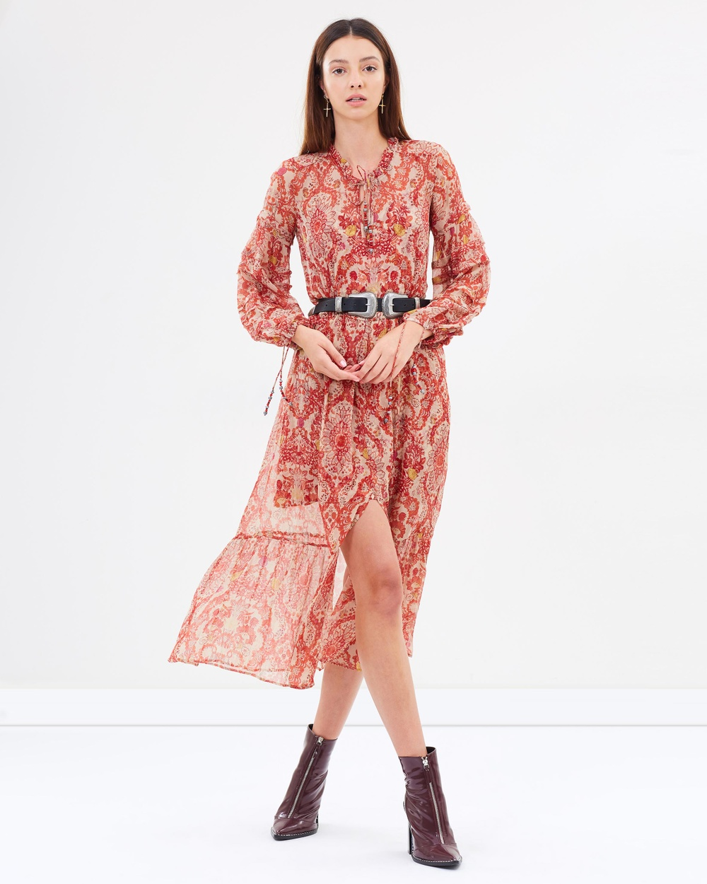The Kooples Chilli Pepper Print Long Dress with Chilli Pepper Print