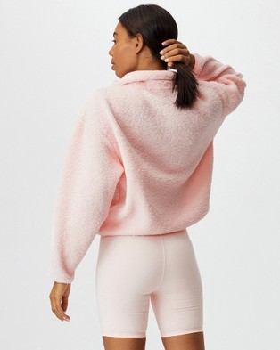 Cotton On Body Active Crop Sherpa Pull Over Sweats (Pink Sherbet)