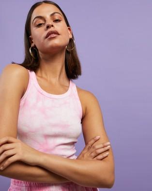 Dazie Turn Back Tie Dye Tank - T-Shirts & Singlets (Pink Tie Dye)