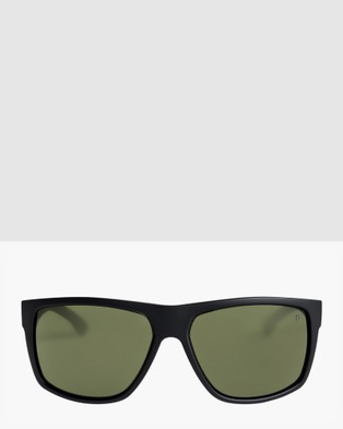 Quiksilver Mens Transmission Polarised Floatable Sunglasses  - Sunglasses (MATTE BLACK/GREEN PO)