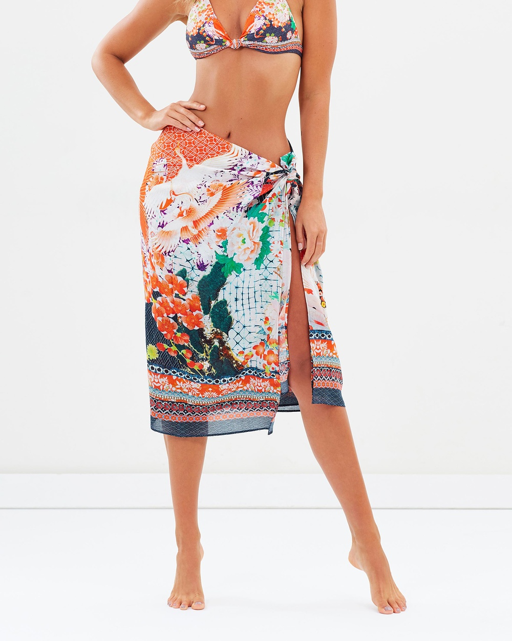 Camilla Frayed Edge Long Sarong Swimwear Geisha Girl Frayed Edge Long Sarong