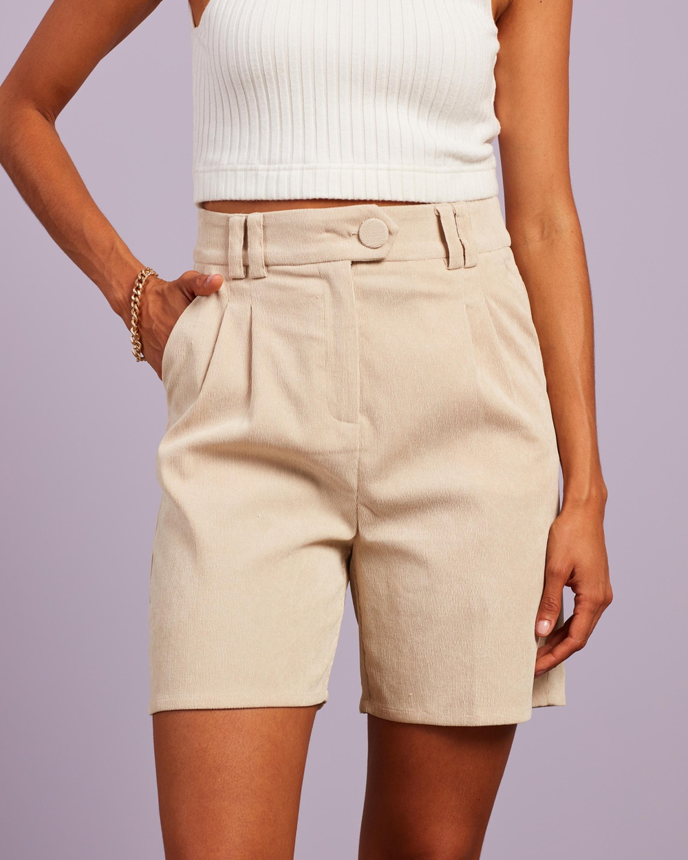 4th & Reckless Anderson Shorts High-Waisted Cream