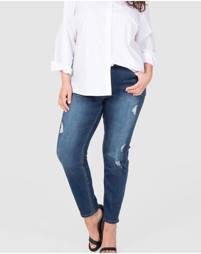Love Your Wardrobe Distressed Full Length Stretch Jeans Dark Indigo