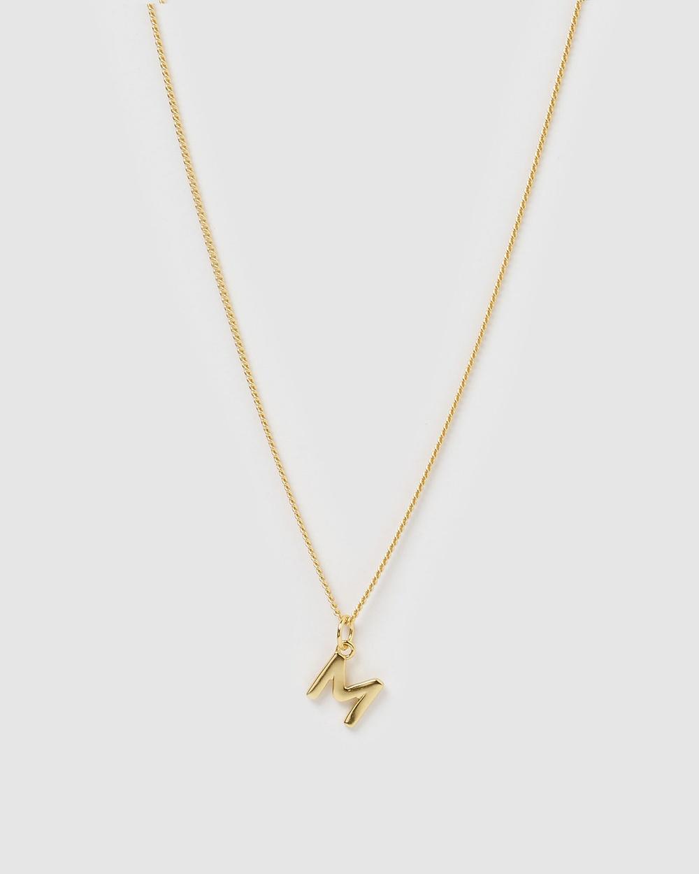 Izoa Alphabet Letter M Necklace Jewellery Gold