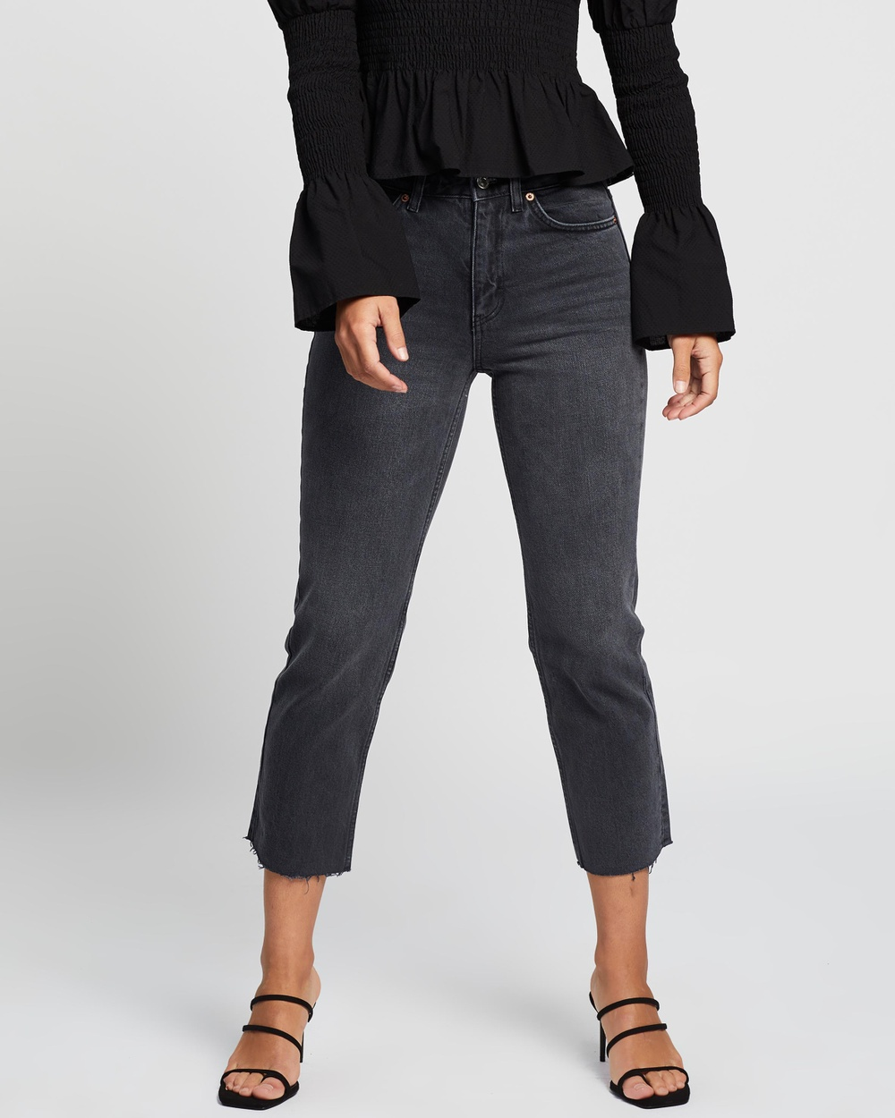 TOPSHOP Straight Jeans High-Waisted Washed Black Australia