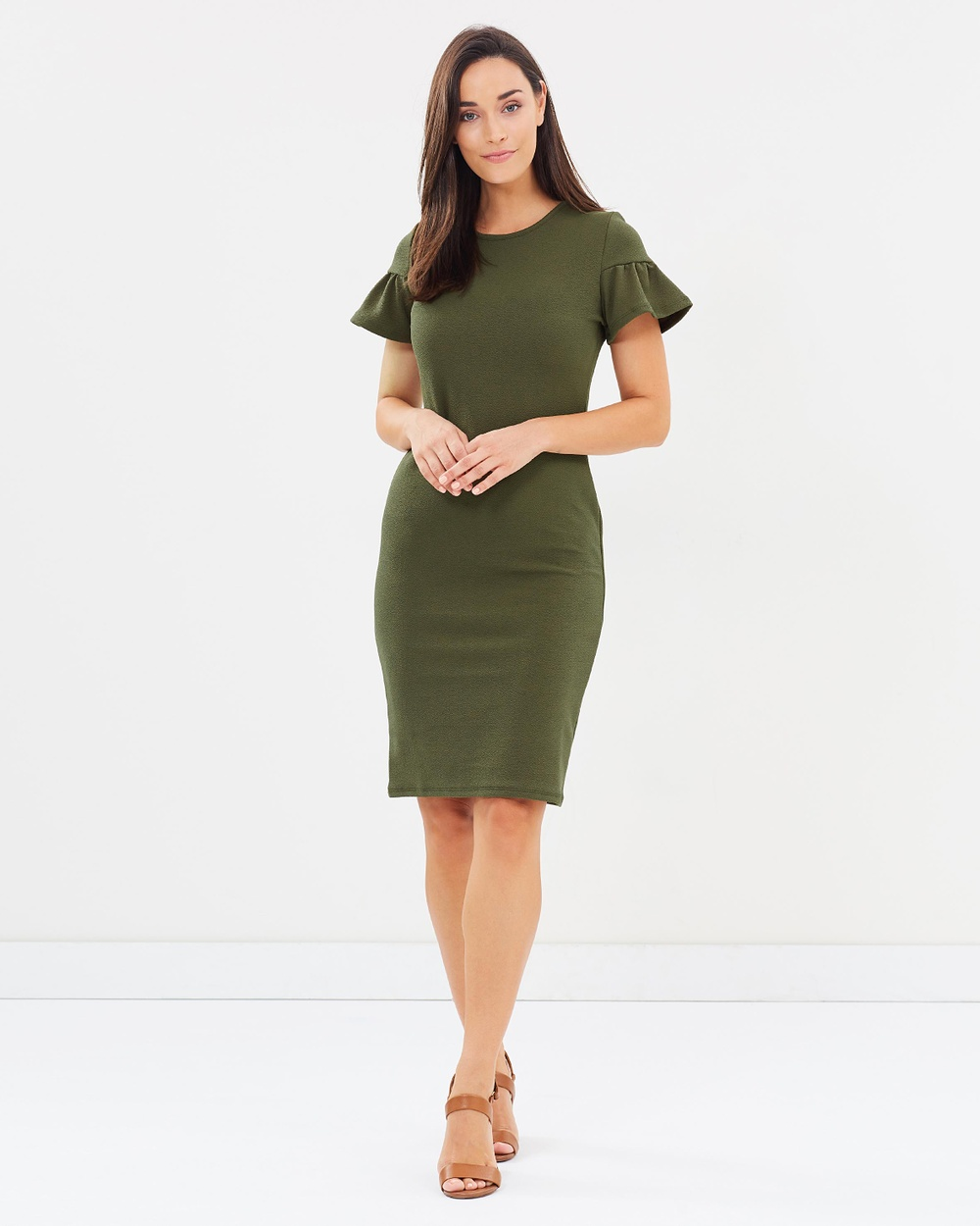 Dorothy Perkins Drawstring Detail Bodycon Dress Bodycon Dresses Green Drawstring Detail Bodycon Dress