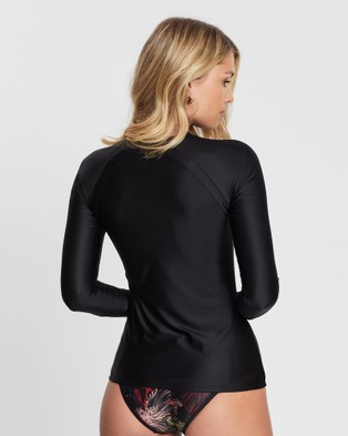 Duskii - Fleur Long Sleeve Rash Top Swimwear (Black)
