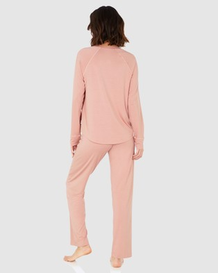 Boody Organic Bamboo Eco Wear Goodnight Sleep Set   Raglan Top and Pants   Dusty Pink - Two-piece sets (Pink)