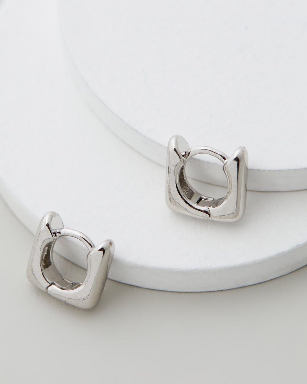 Luv Aj Mini Art Deco Huggies Jewellery Silver