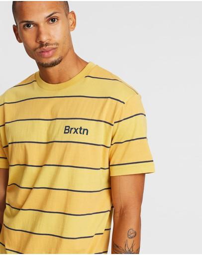 Brixton Hilt Print Short Sleeve Knit Sunset Yellow & Washed Navy