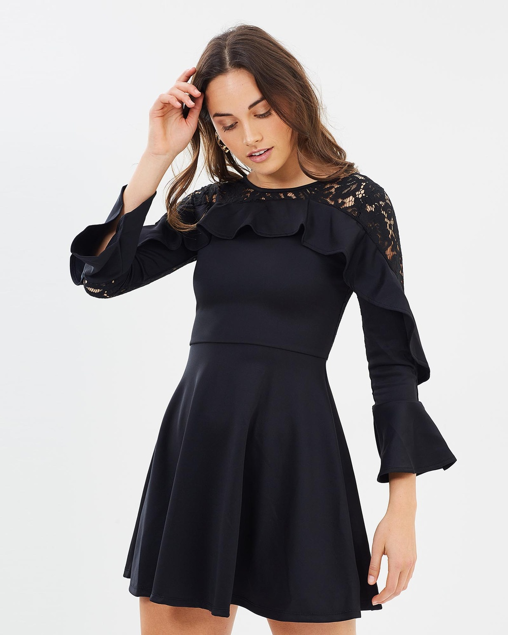 ROXCIIS Black Mica Cocktail Dress