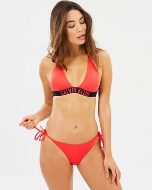 CK Swim – Cheeky String Side Bikini Bottoms Hot Coral