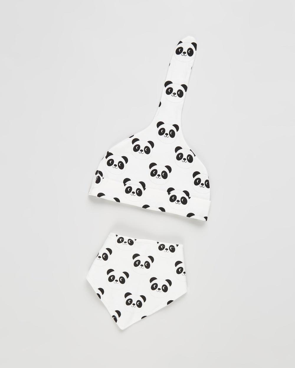 REX Organic Cotton Baby Hat & Bib Set Bibs Miko The Panda
