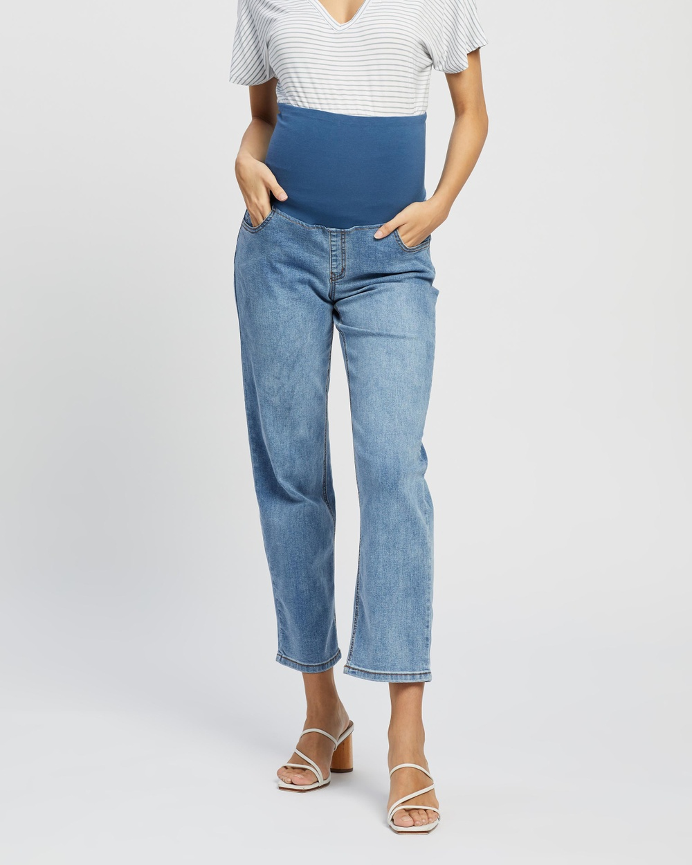 Cotton On Maternity Over Belly Straight Stretch Jeans The Iconic Exclusive High-Waisted Brunswick Blue Australia